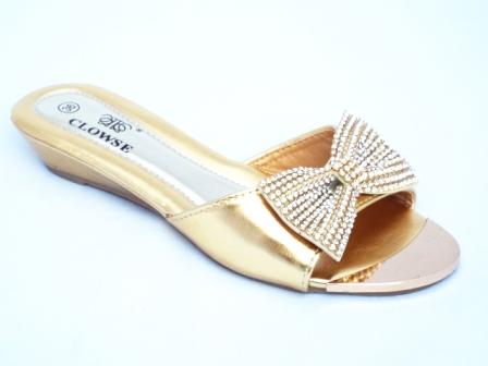 Papuci dama aurii cu funda decorata cu strasuri tip Swarovski