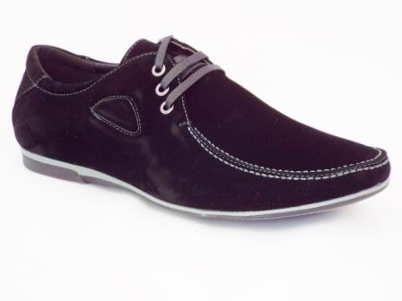 Pantofi barbati negri sport, imitatie piele intoarsa