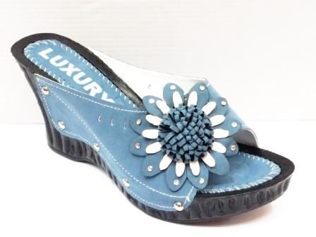 Papuci dama albastri, talpa ortopedica