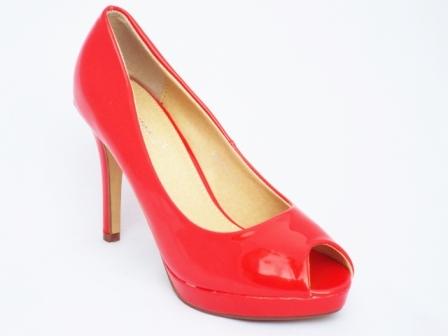 Pantofi dama rosii, lacuiti, cu toc 9 cm si platforma