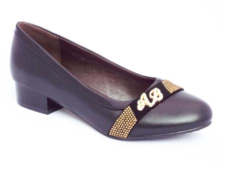 Pantofi dama negri,toc de 3 cm si strasuri aurii