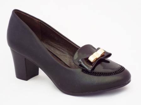 Pantofi dama negri cu toc de 5 cm si strasuri