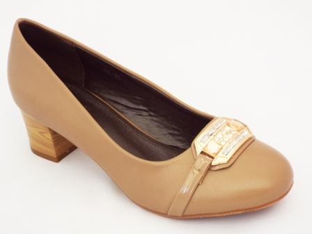 Pantofi dama camel cu toc de 5 cm