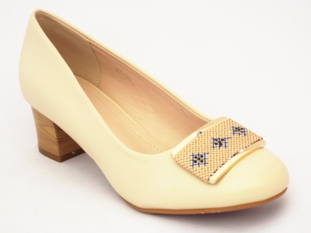 Pantofi dama bej cu toc de 5 cm