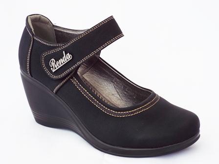 Pantofi dama negri cu talpa ortopedica si bareta