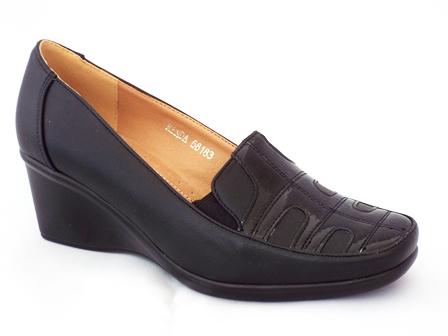 Pantofi dama negri cu talpa ortopedica si insertie de lac