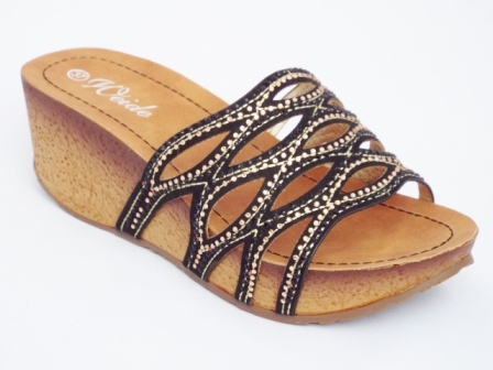 Papuci dama negri, talpa ortopedica de 5 cm