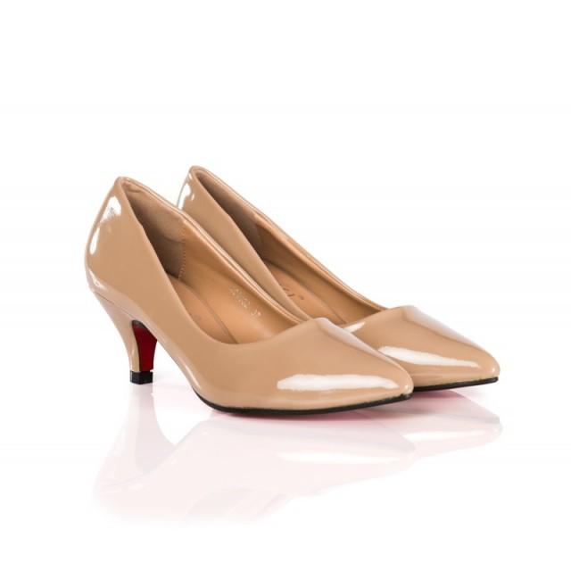Pantofi dama Dyane bej cu toc de 6 cm
