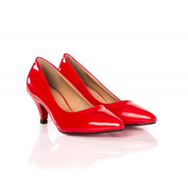 Pantofi dama Dyane rosii cu toc de 6 cm