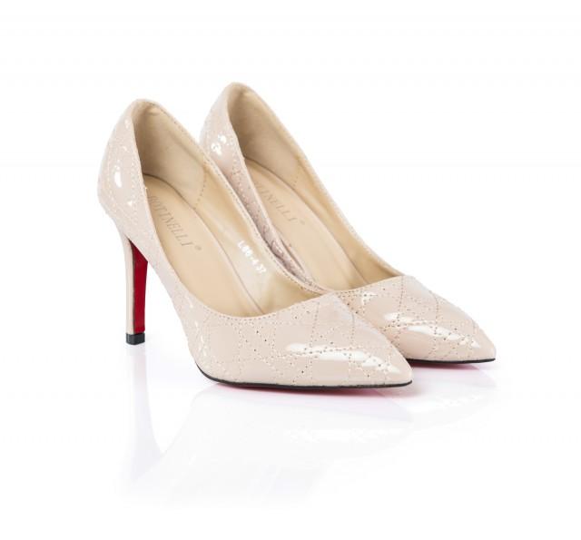 Pantofi dama Cyara bej cu toc de 8 cm