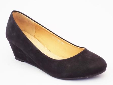 Pantofi femei negri Loxi cu toc ortopedic