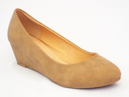 Pantofi femei bej Loxi cu toc ortopedic