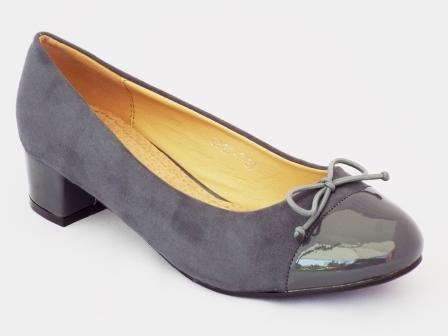 Pantofi dama Pinely gri cu toc mic