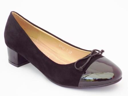 Pantofi dama Pinely negri cu toc mic