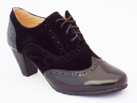 Pantofi femei negri Polino cu toc de 7 cm