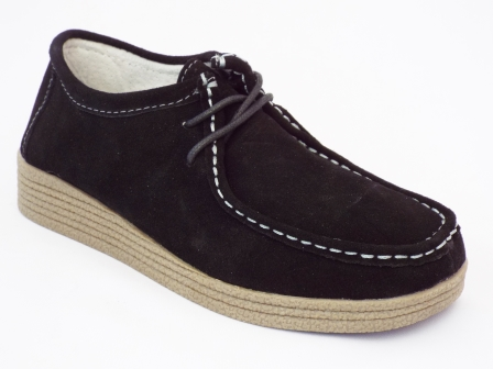Pantofi femei negri Gysnia din piele intoarsa