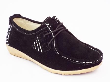 Pantofi femei negri Gyrona din piele intoarsa
