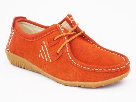 Pantofi femei portocalii Gyrona din piele intoarsa
