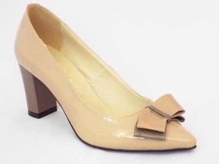 Pantofi dama Romnya bej, tip stiletto, piele naturala, toc 7 cm