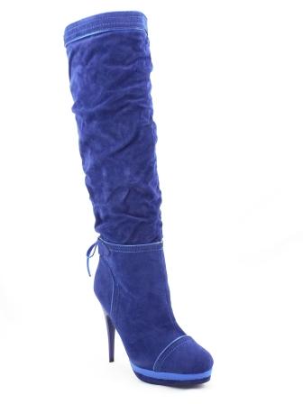 Cizme dama Sany albastre toc de 12 cm cu platforma