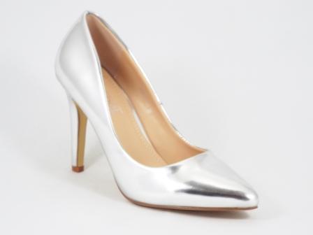 Pantofi dama stiletto argintii toc de 9 cm Coolya