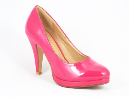 Pantofi dama roz cu toc 9 cm si platforma Zoya