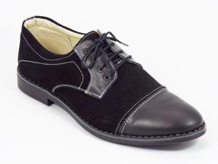 Pantofi barbati piele intoarsa negri siret Titano