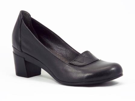 Pantofi dama piele negri toc 5 cm Geny