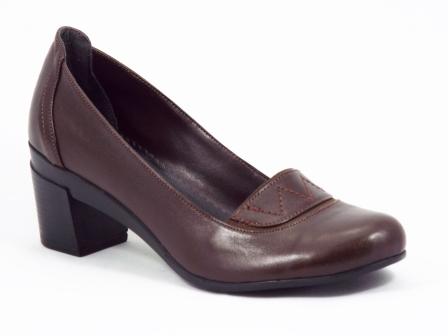 Pantofi dama piele maro toc 5 cm Geny