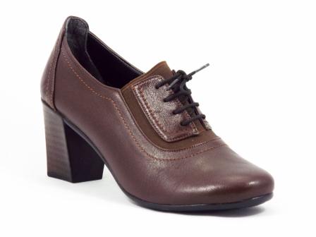 Pantofi dama piele maro toc 6 cm siret Gynna