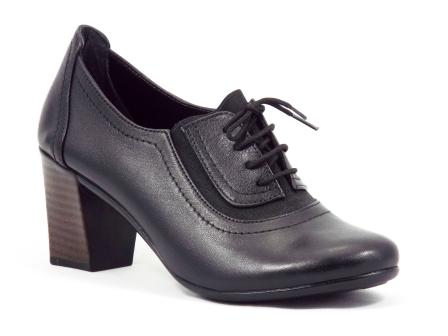 Pantofi dama piele negri toc 6 cm siret Gynna