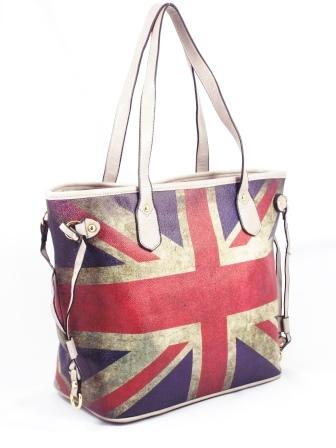 Geanta dama rosu cu albastru si gri Britain