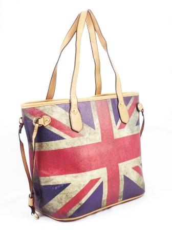 Geanta dama rosu cu albastru si bej Britain