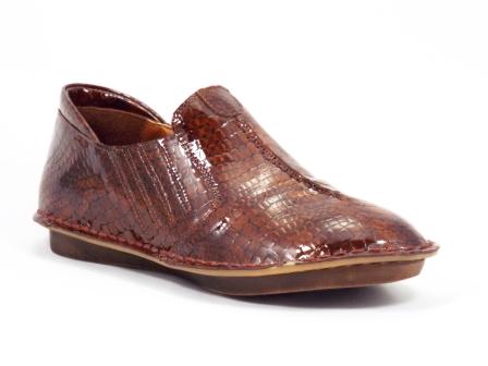 Pantofi dama piele lacuita maro tip croco Mellysa