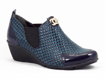 Pantofi dama piele albastri ortopedici Sah