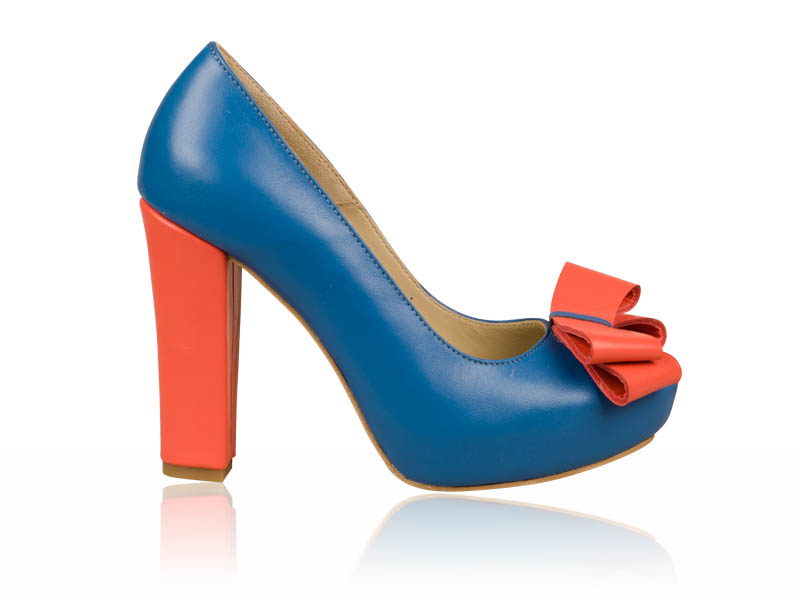 Pantofi dama piele albastri toc 12 cm Frely