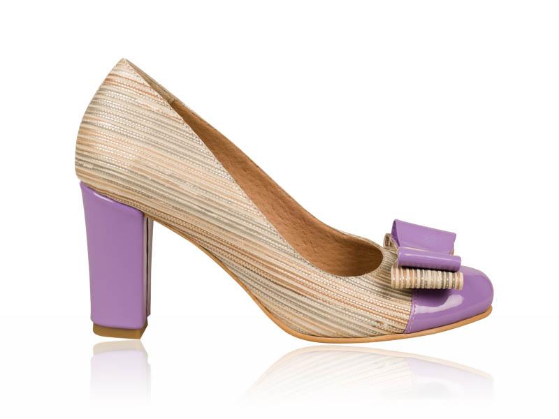 Pantofi dama piele bej insertii de mov toc 7 cm Eclat