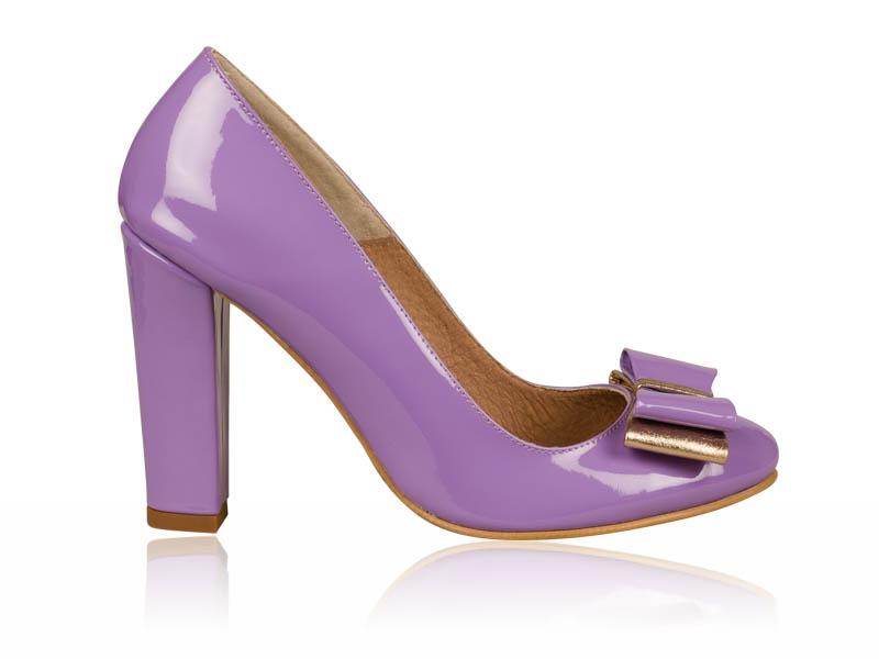 Pantofi dama piele lacuita lila toc 10 cm Jynya