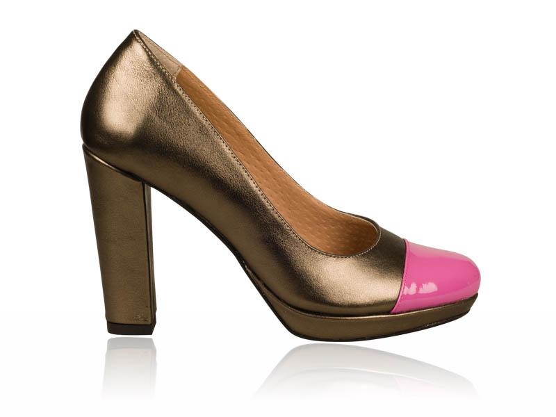 Pantofi dama piele maro sidefat toc 9 cm Glamour