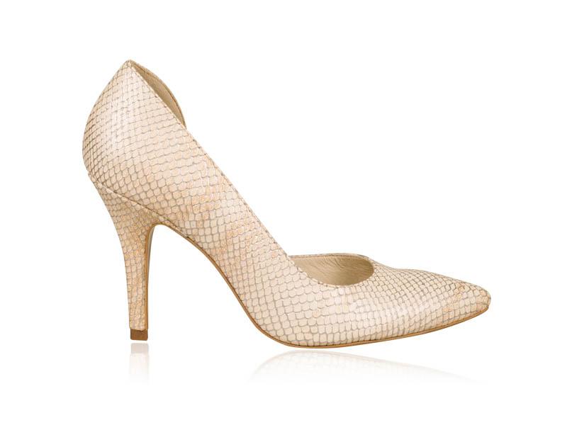 Pantofi dama bej piele print sarpe toc 9 cm Nyko