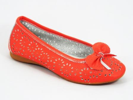 Balerini dama piele rosu coral perforati Tannya