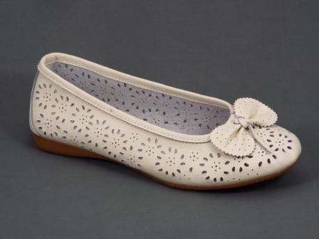 Balerini dama piele albi perforati Tannya