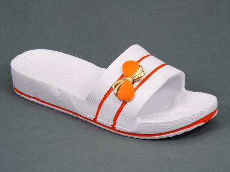 Papuci dama albi cu portocaliu Doryna