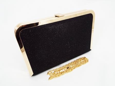 Geanta dama clutch negru metalizat Feerya