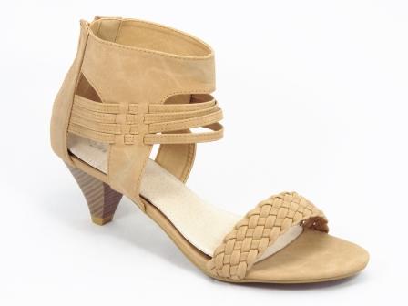 Sandale dama bej toc de 5 cm Carla