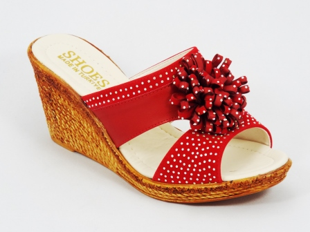 Papuci dama rosii strasuri Shozy