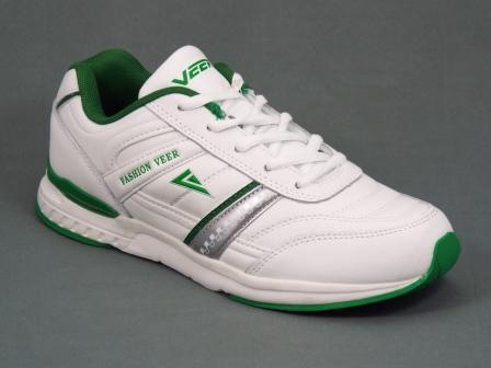 Adidasi dama piele albi cu verde Manyka