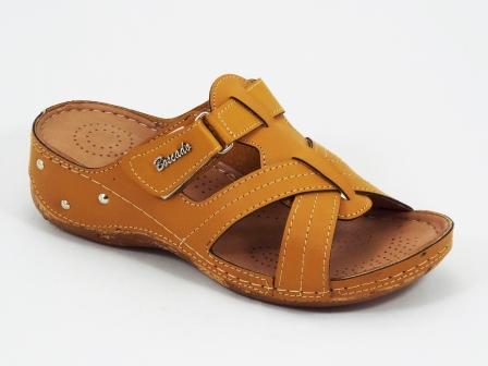 Papuci dama maro-mustar ortopedici de toc 4 cm Byasco