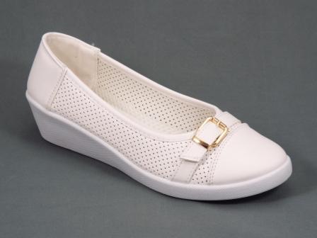 Pantofi dama albi perforati talpa ortopedica Quella