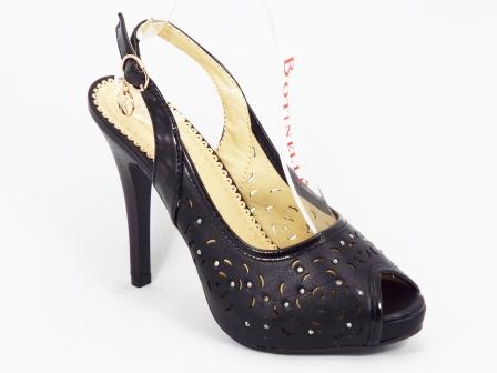 Sandale dama negre toc 10,5 cm Star